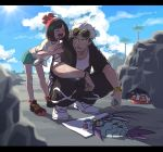 1boy 1girl beanie black_hair feeding female_protagonist_(pokemon_sm) green_shorts guzma_(pokemon) hat highres hood hoodie letterboxed multicolored_hair open_mouth pokemon pokemon_(creature) pokemon_(game) pokemon_sm red_hat ryanpei shirt short_sleeves shorts sunglasses sunglasses_on_head tied_shirt white_hair wimpod