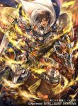 1boy 1girl armor armored_boots boots brown_hair cape company_connection copyright_name fire_emblem fire_emblem:_kakusei fire_emblem_cipher frederik_(fire_emblem) hagiya_kaoru holding holding_weapon horse horseback_riding male_focus official_art open_mouth riding shield short_hair shoulder_armor sword weapon