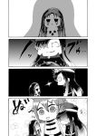 /\/\/\ 4koma cape character_request chibi comic commentary_request demon_archer fate/grand_order fate_(series) fujimaru_ritsuka_(female) greyscale hair_between_eyes hair_over_one_eye hat koha-ace long_hair military military_uniform monochrome multiple_girls open_mouth riyo_(lyomsnpmp)_(style) short_hair side_ponytail silent_comic uniform zhunei_ding