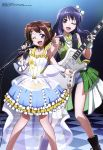 2girls ;d absurdres armpits bang_dream! blue_hair blue_shorts bow brown_eyes brown_hair checkered checkered_floor collarbone copyright_name dress guitar hair_bow head_tilt highres holding holding_instrument holding_microphone index_finger_raised instrument jewelry long_hair looking_at_viewer microphone microphone_stand multiple_girls necklace oguri_hiroko one_eye_closed open_mouth see-through short_shorts shorts sleeveless sleeveless_dress smile star_necklace toyama_kasumi ushigome_yuri violet_eyes white_bow wrist_cuffs