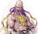 1boy arm_wraps bald beard blonde_hair commentary_request facial_hair genderswap genderswap_(ftm) gradient_hair hijiri_byakuren long_beard male_focus meitei multicolored_hair muscle purple_hair shirtless solo touhou upper_body veins