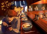 bag black_eyes black_hair blonde_hair bookbag bowl brown_hair ceejles chopsticks closed_eyes coin_purse eating english food haikyuu!! hanamaki_takahiro hands_together heart highres iwaizumi_hajime kindaichi_yuutarou kunimi_akira kyoutani_kentarou ladle matsukawa_issei multicolored_hair necktie noodles oikawa_tooru_(haikyuu!!) open_mouth pepper_shaker pot ramen redhead salt_shaker school_uniform short_hair signature smile sweater_vest teeth two-tone_hair very_short_hair watari_shinji_(haikyuu!!) yahaba_shigeru