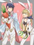 1boy 1girl alfonse_(fire_emblem) animal_ears blonde_hair blush breasts cape carrot chibi cleavage dress easter_egg embarrassed fire_emblem fire_emblem_heroes gloves holding looking_at_viewer rabbit_ears sharena smile