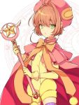 1girl antenna_hair blush brown_hair cape card_captor_sakura fuuin_no_tsue gloves green_eyes hat kinomoto_sakura magical_girl open_mouth short_hair solo wand yasiromann