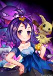 1girl :3 acerola_(pokemon) artist_name blush breasts cleavage collarbone dayuh dress gastly gradient gradient_background hands_on_hips haunter image_sample litwick looking_at_viewer mimikyu open_mouth pokemon pokemon_(creature) pokemon_(game) pokemon_sm purple_hair short_hair short_sleeves smile sparkle tumblr_sample