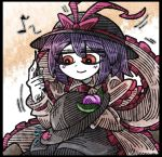 1girl black_border black_hat black_skirt blush_stickers border bow capelet eyebrows_visible_through_hair food frills fruit hair_between_eyes hat hat_bow hat_leaf hat_ribbon line_shading musical_note nagae_iku needle orange_background patch peach purple_hair quaver red_bow red_eyes red_ribbon ribbon sewing sewing_needle shawl short_hair skirt smile solo suenari_(peace) touhou white_skin