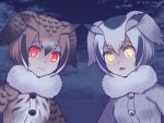 2girls animal_ears blush brown_eyes brown_hair buttons coat commentary_request eurasian_eagle_owl_(kemono_friends) eyebrows_visible_through_hair fur_collar fur_trim grey_hair hair_between_eyes head_wings kemono_friends kurarin long_sleeves looking_at_viewer multicolored_hair multiple_girls northern_white-faced_owl_(kemono_friends) open_mouth short_hair white_hair wings