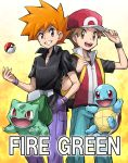 2boys adjusting_clothes adjusting_hat baseball_cap brown_eyes brown_hair bulbasaur cover cover_page hand_in_pocket hat highres jewelry male_focus multiple_boys necklace official_style ookido_green ookido_green_(frlg) orange_eyes orange_hair poke_ball pokemoa pokemon pokemon_(creature) pokemon_(game) pokemon_frlg red_(pokemon) red_(pokemon)_(remake) smile spiky_hair squirtle tossing wristband
