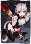 1girl animal_ears breasts fangs final_fantasy final_fantasy_xiv fork halloween miqo'te omucchan_(omutyuan) pumpkin spoon tail