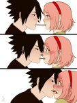 1boy 1girl 3koma black_eyes black_hair blush ceejles comic food green_eyes hairband haruno_sakura highres naruto naruto_shippuuden open_mouth pink_hair pocky signature teeth uchiha_sasuke