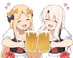 2girls :d ^_^ abigail_williams_(fate/grand_order) alcohol bangs beer beer_mug black_bow blonde_hair blush bow closed_eyes collarbone commentary_request dirndl eyebrows_visible_through_hair facing_viewer fate/grand_order fate_(series) foam german_clothes hair_between_eyes hair_bow heart highres holding_mug illyasviel_von_einzbern mitiru_ccc2 multiple_girls open_mouth orange_bow parted_bangs puffy_short_sleeves puffy_sleeves red_bow shirt short_sleeves simple_background smile white_background white_shirt