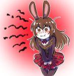 1girl angry animal_ears aura brown_eyes brown_hair commentary embarrassed holding_skirt iesupa pout rabbit_ears rwby school_uniform velvet_scarlatina