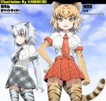 animal_ears animal_print blonde_hair breasts commentary_request elbow_gloves gloves kemono_friends kurosawa_(kurosawakyo) multicolored_hair multiple_girls necktie orange_hair short_hair skirt tail tiger_(kemono_friends) tiger_ears tiger_print tiger_tail white_tiger_(kemono_friends) white_tiger_print