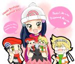 +_+ 1girl 2boys :3 :d beret birthday black_eyes black_hair black_shirt blonde_hair blush blush_stickers character_doll clenched_hand closed_mouth clothes_writing crying crying_with_eyes_open diamond diamond_(pokemon) english facing_viewer flat_chest green_scarf hachimaki hair_ornament hand_puppet hands_on_own_cheeks hands_on_own_face happy_birthday hat headband heart long_hair looking_at_viewer miniskirt multiple_boys namesake nose_blush open_mouth orange_eyes pearl pearl_(pokemon) pink_background pink_skirt platinum_berlitz pokemon pokemon_special popped_collar puppet red_hat red_scarf romaji scarf shirt short_hair short_sleeves skirt sleeveless sleeveless_shirt smile sparkling_eyes speech_bubble standing streaming_tears striped striped_shirt tears text translation_request tsurime wavy_mouth white_hat yatsuhashi_otogi