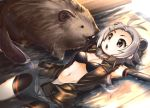 1girl :o animal antenna_hair bare_shoulders beaver beaver_ears beaver_tail bike_shorts bikini_top black_bra bra breasts buck_teeth cleavage elbow_gloves fur_collar gloves gradient grey_eyes grey_hair hair_ornament hairclip indoors jacket kaida_michi kemono_friends looking_at_another lying medium_breasts midriff navel north_american_beaver_(kemono_friends) on_back open_clothes open_mouth partially_submerged shorts sleeveless solid_circle_eyes teeth torn_clothes underwear water wooden_floor wooden_wall