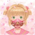 antenna_hair brown_hair card_captor_sakura commentary gas_mask green_eyes kinomoto_sakura looking_at_viewer mask short_hair short_twintails solo twintails
