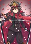 >:) 1girl black_hair closed_mouth demon_archer fate_(series) floating_hair hair_between_eyes hat highres holding holding_sheath holding_sword holding_weapon katana kazuha_(saku_kn) koha-ace long_hair looking_at_viewer military military_hat military_uniform peaked_cap petals red_eyes smile solo standing sword uniform unsheathed weapon