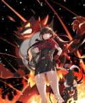 1girl alternate_costume bangs belt black_dress black_gloves black_hair capelet closed_mouth cosplay crossover danganronpa dress fire frown gloves hand_on_hip harukawa_maki highres houndoom incineroar long_hair mole new_danganronpa_v3 one_eye_covered panties pokemon pokemon_(game) sharp_teeth team_magma teeth underwear very_long_hair white_panties zuizi