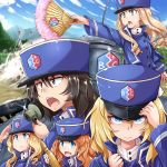 5girls :d andou_(girls_und_panzer) bc_freedom_(emblem) bc_freedom_military_uniform black_hair blonde_hair blue_eyes blue_jacket blue_sky blue_vest brown_eyes character_request clouds cloudy_sky dark_skin drill_hair dust_cloud emblem fan frown ft-17 girls_und_panzer green_eyes hand_on_headwear hat high_collar highres holding holding_phone jacket kitayama_miuki long_hair long_sleeves looking_at_viewer marie_(girls_und_panzer) medium_hair messy_hair mountainous_horizon multiple_girls open_mouth orange_hair oshida_(girls_und_panzer) phone pleated_skirt salute shako_cap shell skirt sky smile standing tree vest wavy_hair white_skirt