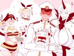 >_< 1boy 6+girls admiral_(kantai_collection) antennae bee_costume bikini_bottom bikini_top black_hair blonde_hair blush breasts brown_hair chibi claws cleavage_cutout closed_eyes collar comic commentary_request detached_sleeves dress embarrassed epaulettes fake_wings hairband hat hidden_eyes high_collar horn horns houshou_hanon huge_breasts kantai_collection large_breasts long_hair long_sleeves midway_hime military military_hat military_uniform multiple_girls northern_ocean_hime open_mouth peaked_cap petting pink_background ponytail rensouhou-chan sako_(bosscoffee) sanpaku seaport_water_oni shimakaze_(kantai_collection) short_hair shorts sweater sweater_dress translation_request uniform white_background white_hair wide_sleeves wings yukikaze_(kantai_collection)