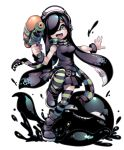 1girl :d aria_wintermint bare_shoulders belt black_boots black_hair black_legwear black_scarf boots commentary cosplay domino_mask green_eyes green_legwear green_scarf gug hair_over_one_eye highres inkling inkling_(cosplay) long_hair mask maximiliano_cabrera open_mouth paint_splatter scarf simple_background smile smirk splatoon splattershot_(splatoon) standing standing_on_one_leg striped striped_legwear striped_scarf super_soaker tentacle_hair the_crawling_city thigh-highs weapon white_background zettai_ryouiki