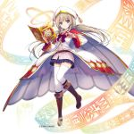1girl bangs belt_pouch blonde_hair blue_eyes book boots bow braid cape copyright_name detached_sleeves eyebrows_visible_through_hair full_body hat holding kami_project knee_boots long_coat long_hair magic official_art pleated_skirt ribbon simple_background skirt solo thigh-highs tomose_shunsaku twin_braids white_background white_legwear zettai_ryouiki