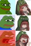 1girl 4chan 6koma :> angry animal_hood black_eyes blue_shirt blush boy's_club commentary derivative_work eyebrows_visible_through_hair frog frog_hood frown highres hood hoodie imageboard_colors long_hair looking_at_viewer meme motion_blur pepe_the_frog redhead sad shirt smile smug stroking_chin tongue tongue_out yukisaki_mayui