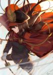 1girl black_hair cape demon_archer fate/grand_order fate_(series) from_above gloves hat highres japanese_clothes koha-ace lanzi_(415460661) long_hair long_sleeves military military_uniform orange_eyes sword uniform weapon white_gloves wind