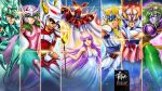 2girls 6+boys andromeda_shun armor athena_(saint_seiya) cropped cygnus_hyoga dragon_shiryu energy epic fire franciscoetchart glowing helmet highres kido_saori magic mask multiple_boys multiple_girls official_style pegasus_seiya phoenix_ikki saint_seiya staff watermark