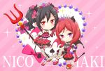 2girls black_hair bow character_name chibi demon_horns english fishnets hair_bow horn horns love_live! love_live!_school_idol_project multiple_girls natsu_(natume0504) nishikino_maki pink_bow pitchfork red_eyes redhead short_hair tiara twintails violet_eyes yazawa_nico