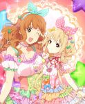 2girls :3 \m/ argyle bead_bracelet beads blonde_hair bracelet braid breasts brown_eyes brown_hair candy_hair_ornament catgirl0926 cleavage dress food_themed_hair_ornament frilled_dress frills futaba_anzu hair_ornament hair_ribbon hairband idolmaster idolmaster_cinderella_girls idolmaster_cinderella_girls_starlight_stage jewelry large_breasts moroboshi_kirari one_eye_closed open_mouth pink_dress puffy_short_sleeves puffy_sleeves ribbon short_sleeves smile sparkle star star-shaped_pupils symbol-shaped_pupils twin_braids v