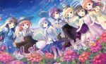 6+girls :d ;d alternate_hairstyle animal animal_on_head anko_(gochiusa) black_skirt blonde_hair blue_eyes blue_hair blue_shirt blue_skirt blush bow braid brown_eyes brown_hair bunny_on_head camisole clouds clover collarbone crown day dress eyebrows_visible_through_hair fang field flower flower_field four-leaf_clover frilled_sleeves frills gochuumon_wa_usagi_desu_ka? green_eyes hair_bow hair_ornament hair_ribbon hand_holding hat hat_removed head_wreath headwear_removed high-waist_skirt highres hoto_cocoa jouga_maya kafuu_chino kirima_sharo leg_up locked_arms long_hair mini_crown mouth_hold multiple_girls natsu_megumi o_o on_head one_eye_closed open_mouth outdoors petals pink_dress psyche3313 puffy_short_sleeves puffy_sleeves purple_hair purple_skirt rabbit red_bow ribbon shirt short_hair short_sleeves skirt sky sleeveless sleeveless_dress smile spaghetti_strap standing striped striped_ribbon sun_hat tedeza_rize tippy_(gochiusa) twintails ujimatsu_chiya violet_eyes wavy_mouth white_shirt x_hair_ornament yellow_dress yellow_eyes