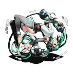 1girl barefoot black_legwear blue_nails breasts detached_sleeves divine_gate feet floating_hair floating_necktie full_body green_eyes green_hair hair_ornament hatsune_miku holding leotard long_hair medium_breasts miku_append nail_polish outstretched_arm shadow solo toenail_polish toes transparent_background twintails ucmm very_long_hair vocaloid vocaloid_append white_leotard