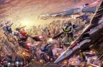1boy afterburner alien battle canopy chester_ocampo choujikuu_yousai_macross cityscape clouds dusk energy_beam energy_cannon epic explosion fleet flying glaug gunpod helmet highres ichijou_hikaru insignia jolly_roger macross mecha missile realistic regult sdf-1 space_craft sun u.n._spacy vf-1 vf-1a vf-1j vf-1s walker when_you_see_it zentradi