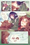 2girls ? ?? arm_hair blue_hair brown_hair closed_eyes comic english fingernails heart heart-shaped_pupils highres image_sample imagining imaizumi_kagerou japanese_clothes kimono kiss long_fingernails long_hair mermaid monster_girl multiple_girls nail_polish orz_(kagewaka) pixiv_sample red_eyes red_nails symbol-shaped_pupils thought_bubble touhou underwater wakasagihime yuri