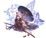 1girl animal_ears black_legwear blue_eyes braid butterfly elbow_gloves gloves granblue_fantasy hair_ornament hair_over_one_eye horns japanese_clothes long_hair looking_at_viewer lying minaba_hideo narumeia_(granblue_fantasy) obi official_art on_side pink_hair pinwheel pointy_ears sash single_braid smile sword thigh-highs transparent_background umbrella weapon zettai_ryouiki