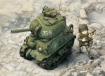 1boy cannon commentary_request from_above grin ground_vehicle helmet kome m4_sherman military military_vehicle motor_vehicle shovel smile soldier tank turret weapon worktool world_war_toons