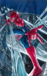 1boy absurdres bodysuit broken_glass building full_body glass highres male_focus marvel murata_yuusuke new_york official_art searchlight silk skin_tight solo spider-man spider-man_(series) spider_web superhero zentai