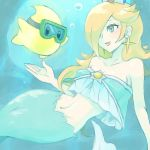 1girl bare_shoulders blonde_hair blue_eyes blush breasts chiko_(mario) crown earrings fins hair_over_one_eye jewelry long_hair mario_(series) mermaid monster_girl navel poo rosetta_(mario) scales shell smile star super_mario_bros. super_mario_galaxy underwater water