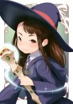 1girl alternate_eye_color asymmetrical_bangs bangs blush brown_eyes brown_hair closed_mouth hat hideousbeing holding kagari_atsuko little_witch_academia long_hair long_sleeves looking_at_viewer shirt smile solo sparkle staff wand white_shirt wide_sleeves wing_collar witch_hat