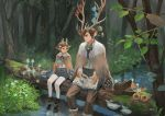 1boy 1girl absurdres animal_ears antlers belt bird blue_ribbon book boots boots_removed brown_boots brown_hair buttons denqyellow eye_contact flower flower_request forest glasses grass hair_flower hair_ornament highres holding leaf log looking_at_another moss nature neck_ribbon open_book original pants pantyhose_under_shorts pointing pond red_eyes reflection ribbon round_glasses shoes short_hair shorts sitting sitting_ soaking_feet tree water white_flower white_legwear