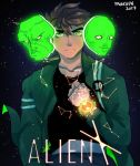 1girl 2boys alien_x_(ben_10) bellicus ben_10 ben_10:_alien_force benjamin_kirby_tennyson brown_hair cartoon_network glowing glowing_eyes green_eyes green_jacket jacket looking_at_viewer multiple_boys omnitrix serena_(ben_10) universe