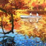 1boy 1girl autumn autumn_leaves blurry boat commentary_request gemi lake leaf long_hair original paddle railing reflection ripples rowboat rowing shirt short_sleeves sitting tree water watercraft white_shirt