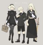 1boy 2girls alternate_costume artist_request bag black_jacket boots grey_eyes grey_hair hairband jacket juliet_sleeves kneehighs long_hair long_skirt long_sleeves midriff_peek multiple_girls navel neck_ribbon nier_(series) nier_automata pleated_skirt pod_(nier_automata) puffy_sleeves ribbon sailor_collar school_uniform shinai shoes short_hair shorts simple_background skirt sleeves_folded_up sword thigh-highs weapon yorha_no._2_type_b yorha_no._9_type_s yorha_type_a_no._2