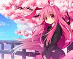 1girl animal_ears artist_request cherry_blossoms eyes flowing_hair jacket long_hair looking_at_viewer miniskirt necktie pink pink_hair project_shrine_maiden rabbit_ears reisen_udongein_inaba seifuku solo tagme touhou