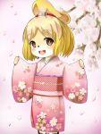 animal_crossing brown_eyes cherry_blossoms dobutsu_no_mori isabella_(dobutsu_no_mori) jingle_bell kimono looking_at_viewer short_hair tagme