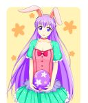 1girl absurdly_long_hair animal_ears blush_stickers bow breasts bunnysuit cleavage dress easter_egg egg fake_animal_ears fire_emblem fire_emblem:_fuuin_no_tsurugi fire_emblem_heroes highres long_hair open_mouth purple_hair rabbit_ears short_sleeves small_breasts sofiya solo very_long_hair violet_eyes