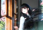 1girl belt black_hair black_skirt blurry blurry_background braid brown_eyes cherry_blossoms kazuharu_kina long_hair long_sleeves looking_afar looking_out_window open_mouth original petals school_uniform skirt solo watermark white_sleeves wind window