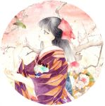 1girl bird branch flower hair_ribbon highres japanese_clothes kimono kimonohime original plum plum_blossoms profile ribbon traditional_media watercolor_(medium)
