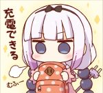 1girl backpack bag bangs beads blue_eyes blunt_bangs blush bow capelet chibi commentary_request dress hair_beads hair_bow hair_ornament hairband holding kanna_kamui kata_meguma kobayashi-san_chi_no_maidragon lavender_hair long_hair lowres o_o solo translation_request twintails you're_doing_it_wrong